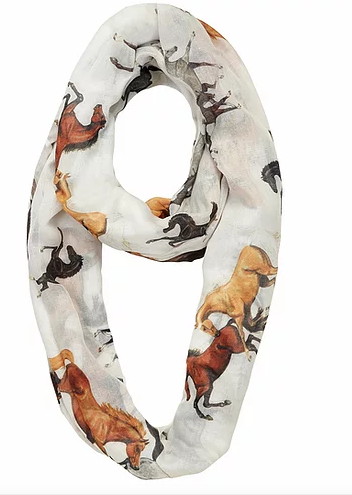 """Lila"" Horse All Over Infinity Scarf"