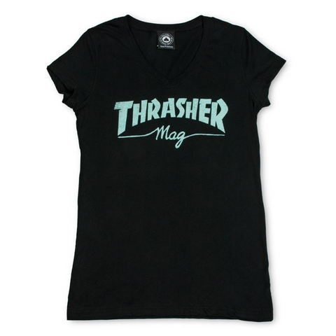 Girls Thrasher Mag Logo SS V-Neck - Blue & Gold Boardshop