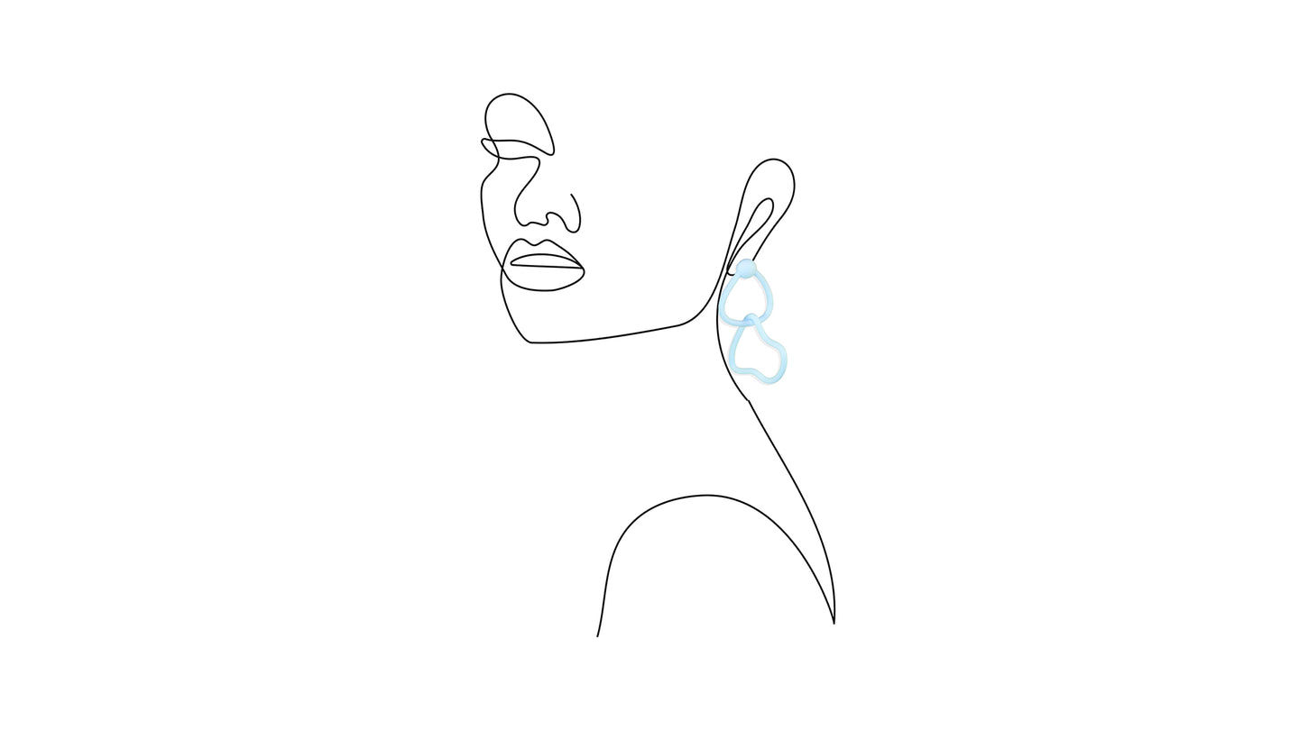 Mari Earring in Aquamarine Blue imposed on line illustration of a woman's bust