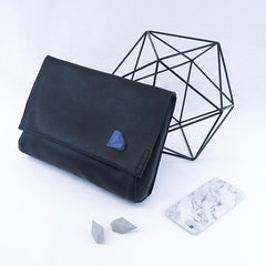 GAMENT 3D Printed Diamonds and Rocks on a Black Leather Clutch