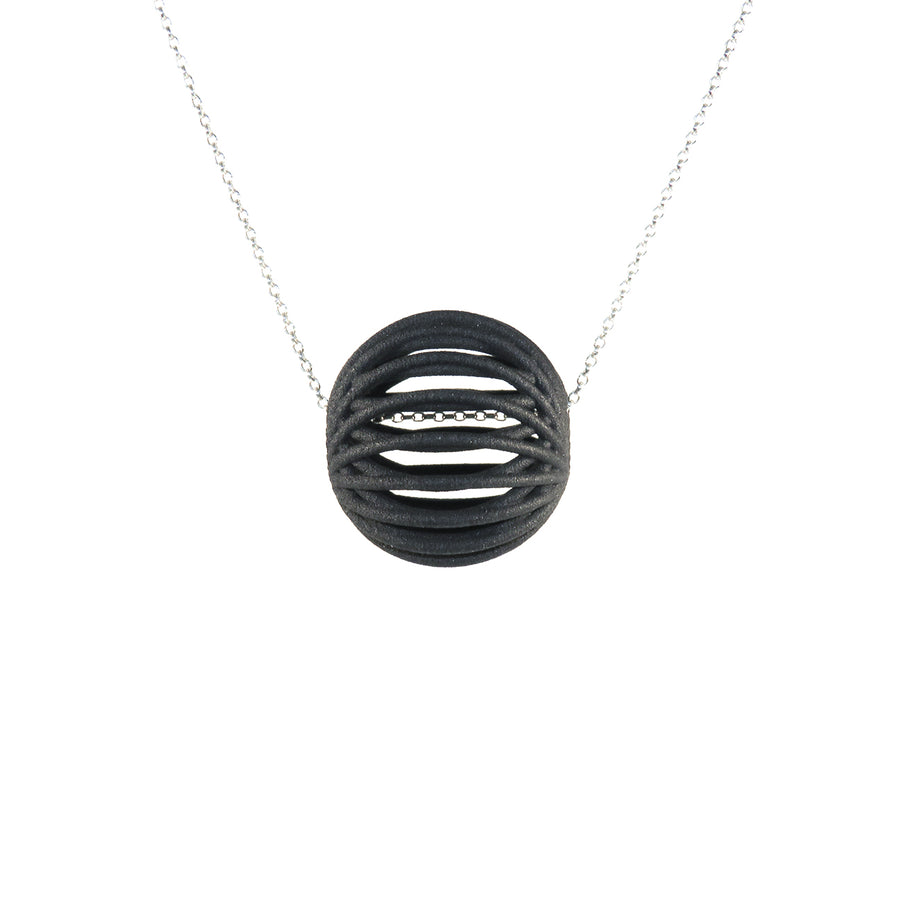 The Kilo Bead in Carbon Black Suspended on a Sterling Silver Chain