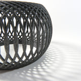 Playing with Lights and Shadows with our Deca Bangle, 3D Printed Basket-like bangle in Carbon Black