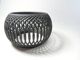 Side View of our Deca Bangle, 3D Printed Basket-like bangle in Carbon Black