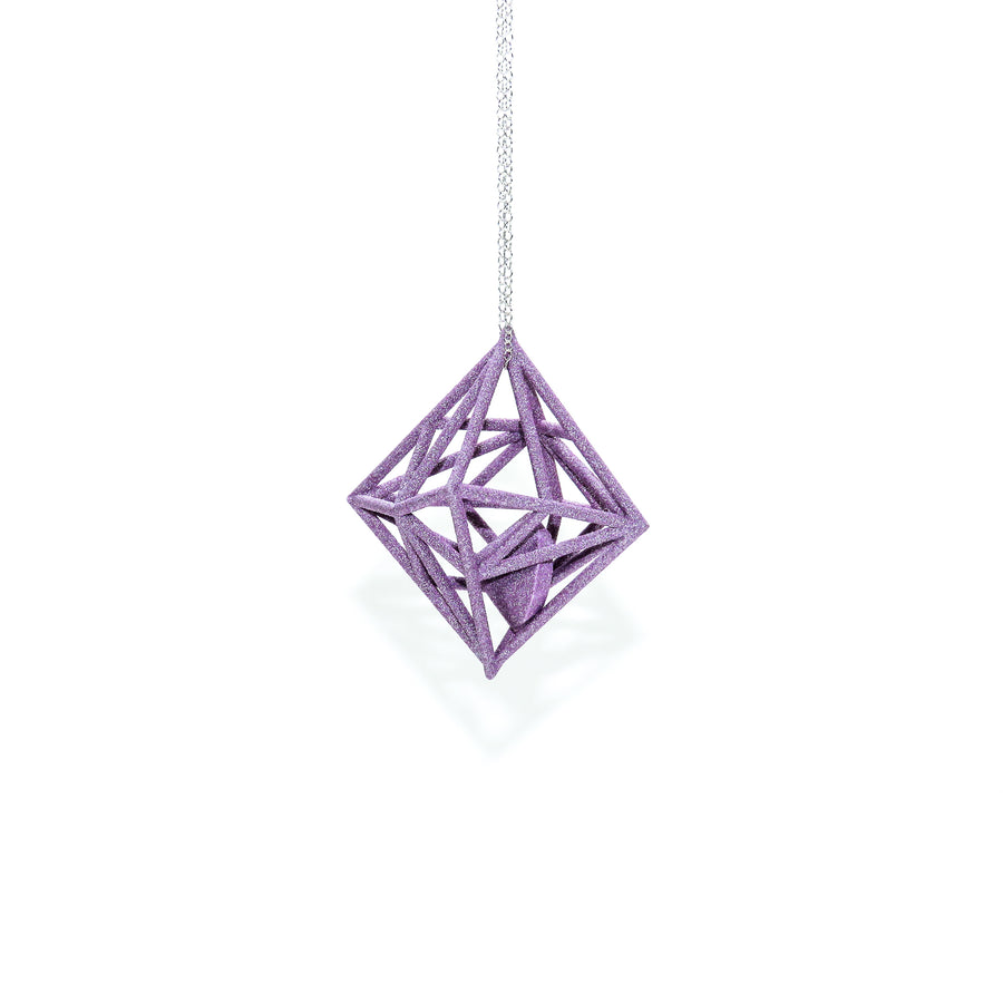 Diamond in the Rough 3D Printed Pendant in Amethyst Purple on a 30