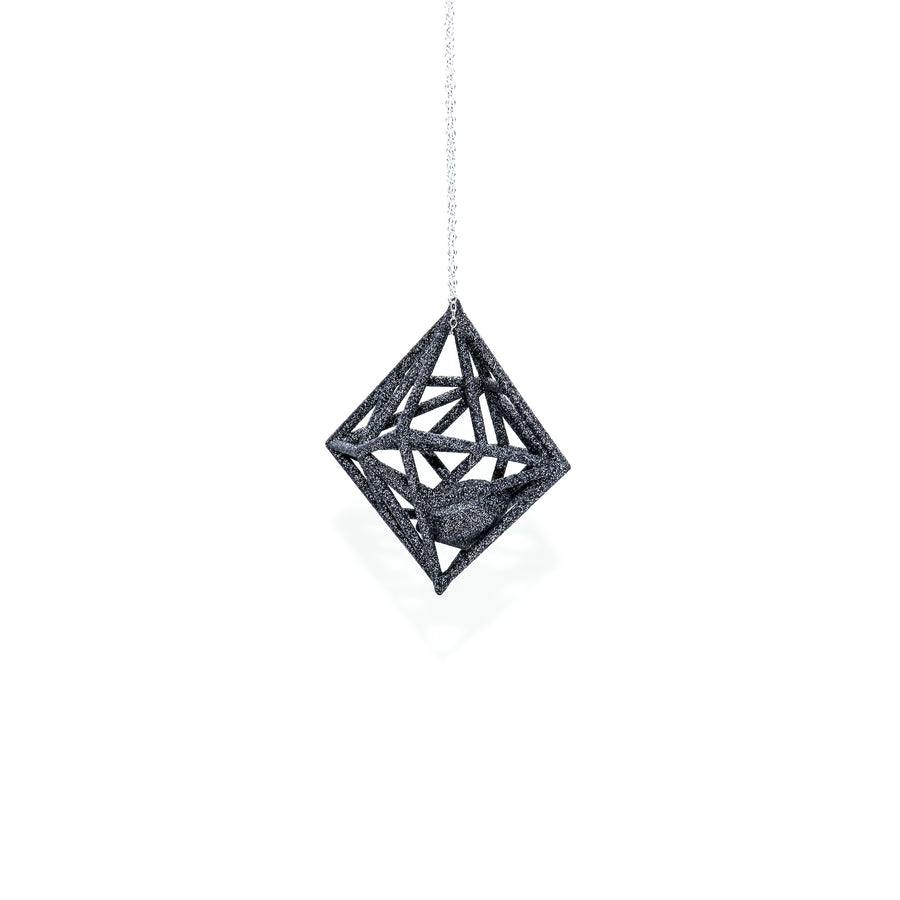 Diamond in the Rough 3D Printed Pendant in Carbon Black on a 30