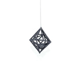 "Diamond in the Rough 3D Printed Pendant in Carbon Black on a 30"" Sterling Silver Chain"