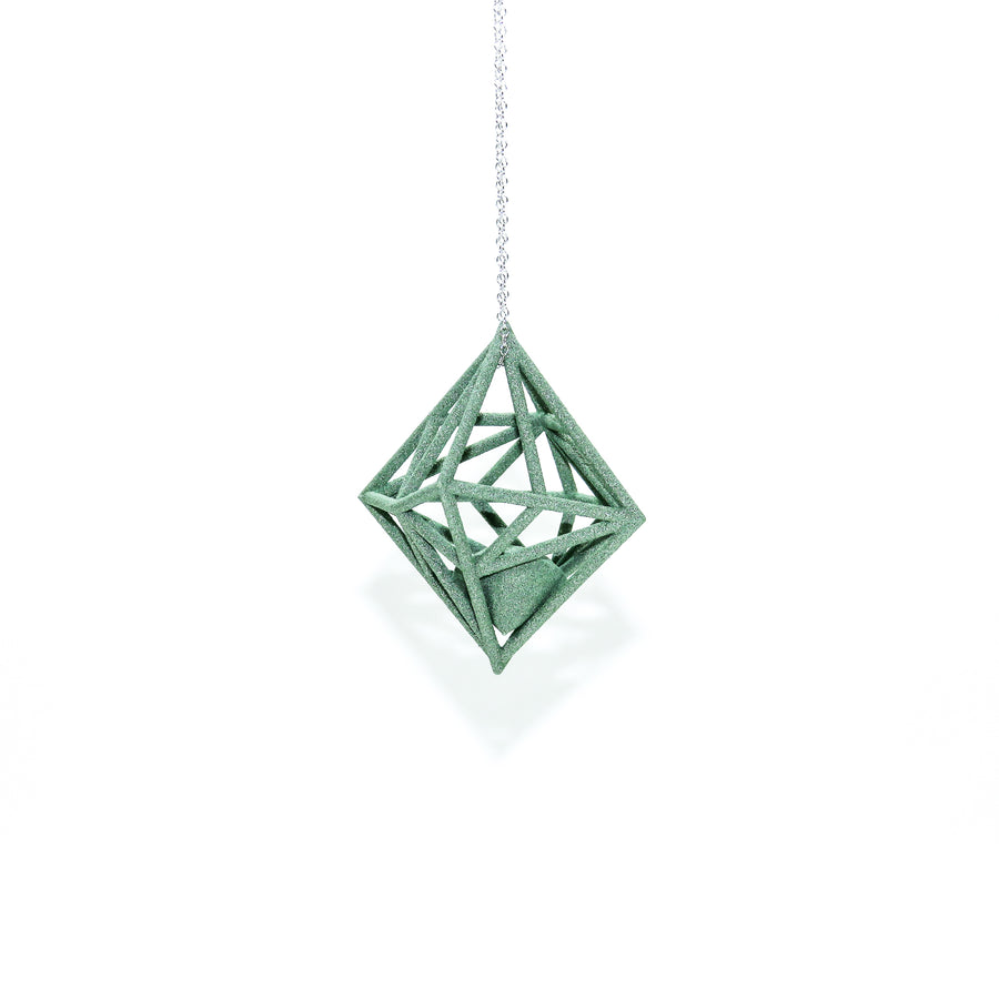 Diamond in the Rough 3D Printed Pendant in Emerald Green on a 30