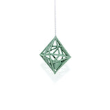 "Diamond in the Rough 3D Printed Pendant in Emerald Green on a 30"" Sterling Silver Chain"