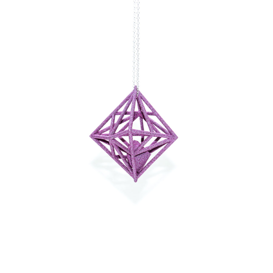 Diamond in the Rough 3D Printed Pendant in Petal Pink on a 30