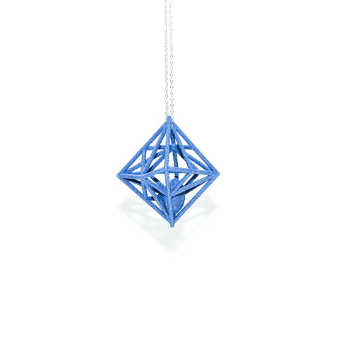 "Diamond in the Rough 3D Printed Pendant in Sapphire Blue on a 30"" Sterling Silver Chain"