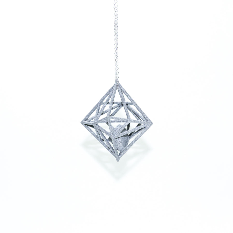 Diamond in the Rough 3D Printed Pendant in Silver Slate on a 30