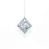 "Diamond in the Rough 3D Printed Pendant in Silver Slate on a 30"" Sterling Silver Chain"
