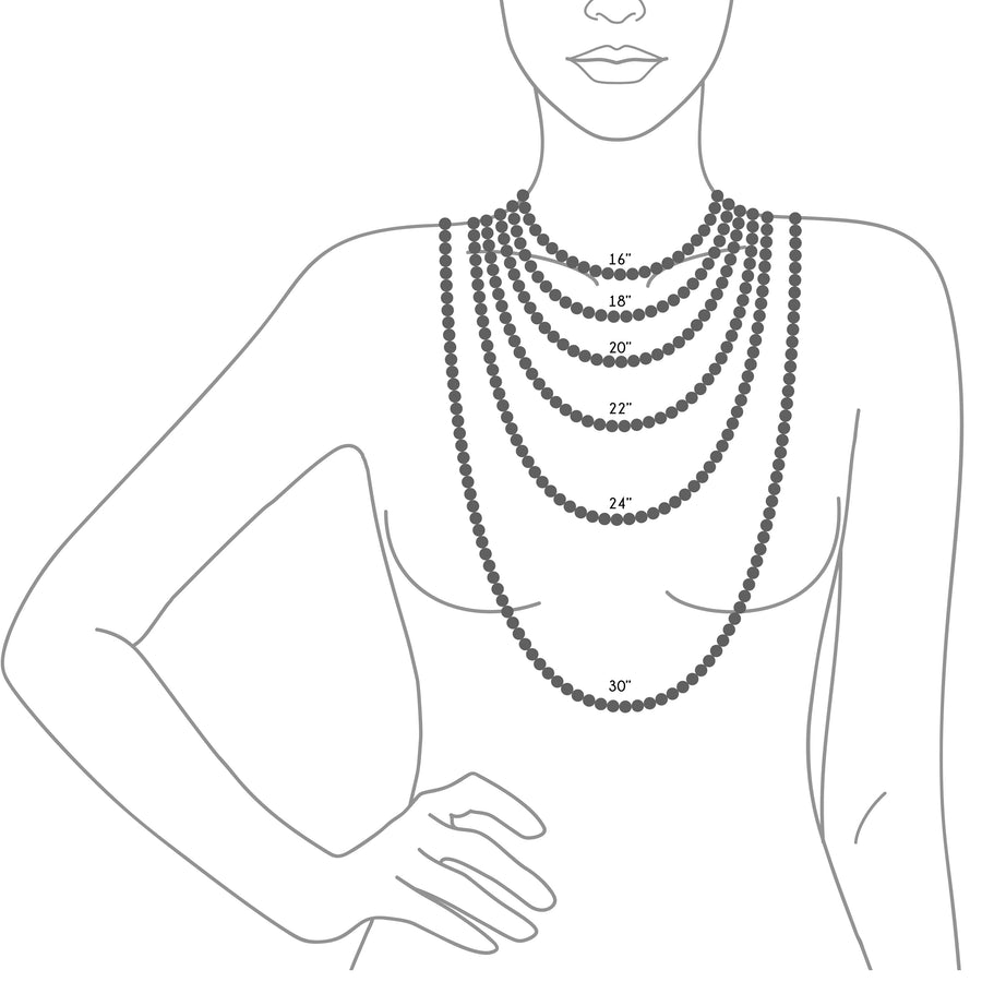 Various Necklace Lengths displayed on a female bust for reference