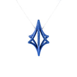 Starlight 3D Printed Pendant in Sapphire Blue on a Silver Chain