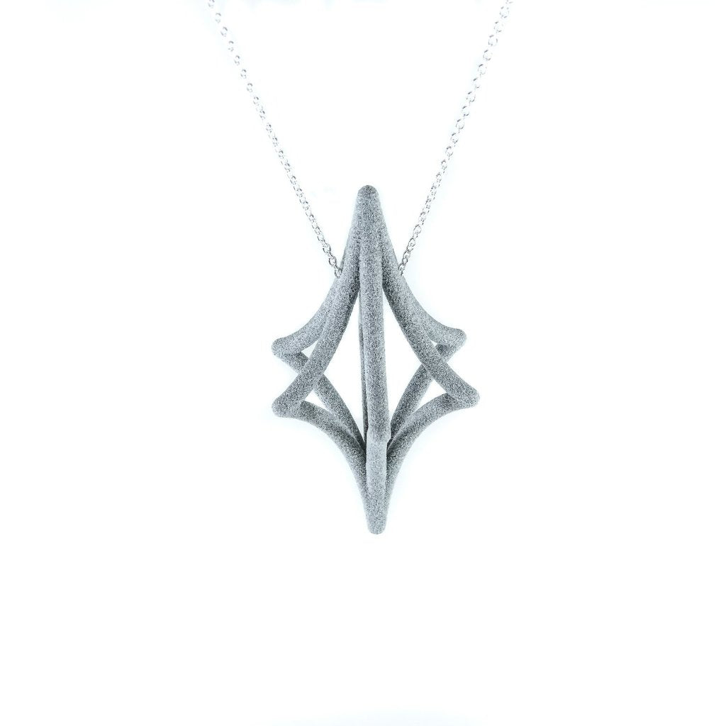 Starlight 3D Printed Pendant in Slate on a Silver Chain