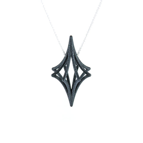 Starbright 3D Printed Pendant in Carbon Black on a Silver Chain