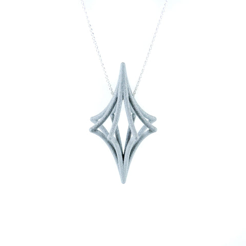 Starbright 3D Printed Pendant in Slate Black on a Silver Chain