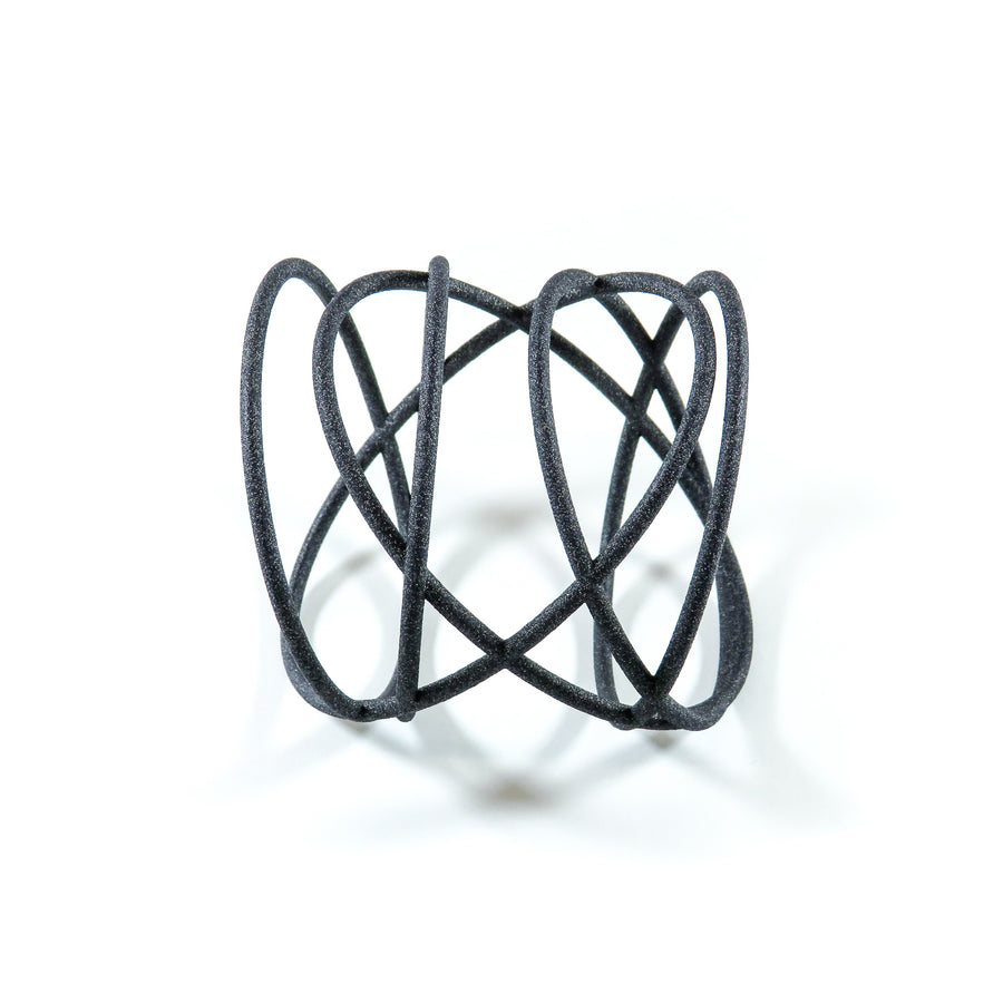 Orbit 3D Printed Bangle by GAMENT Designs  in Carbon Black