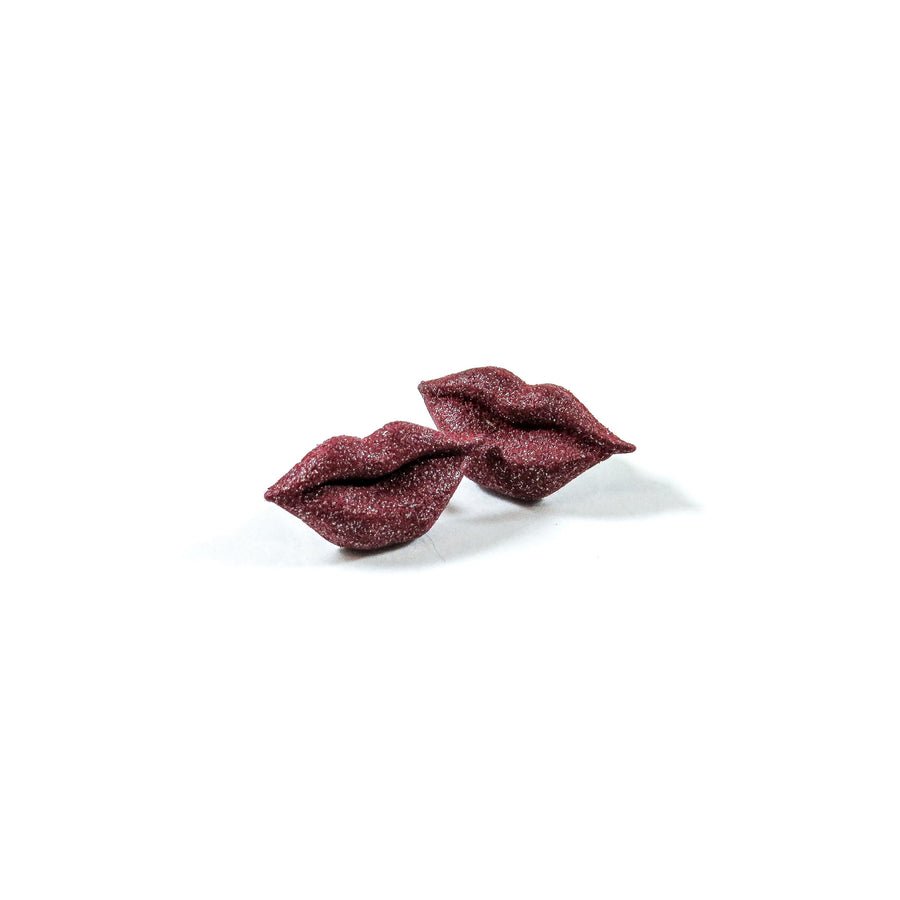 Kiss Earrings 3D Printed in Ruby Red