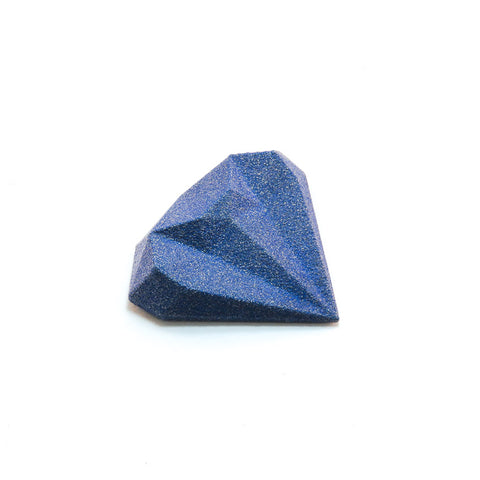 3D Printed Magnetic Diamond Brooch in Blue
