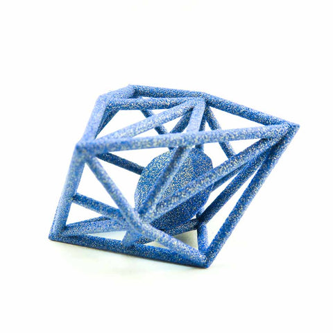 3D Printed Diamond in the Rough Pendant in Sapphire Blue