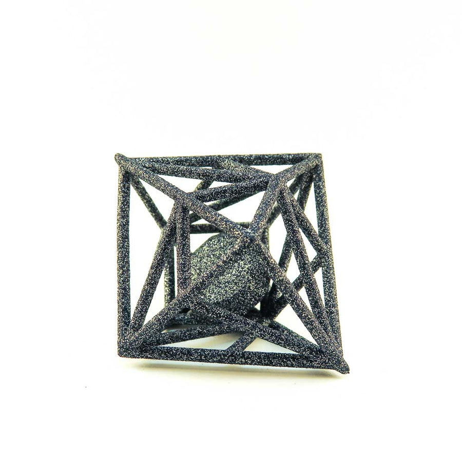3D Printed Diamond in the Rough Pendant in Carbon Black