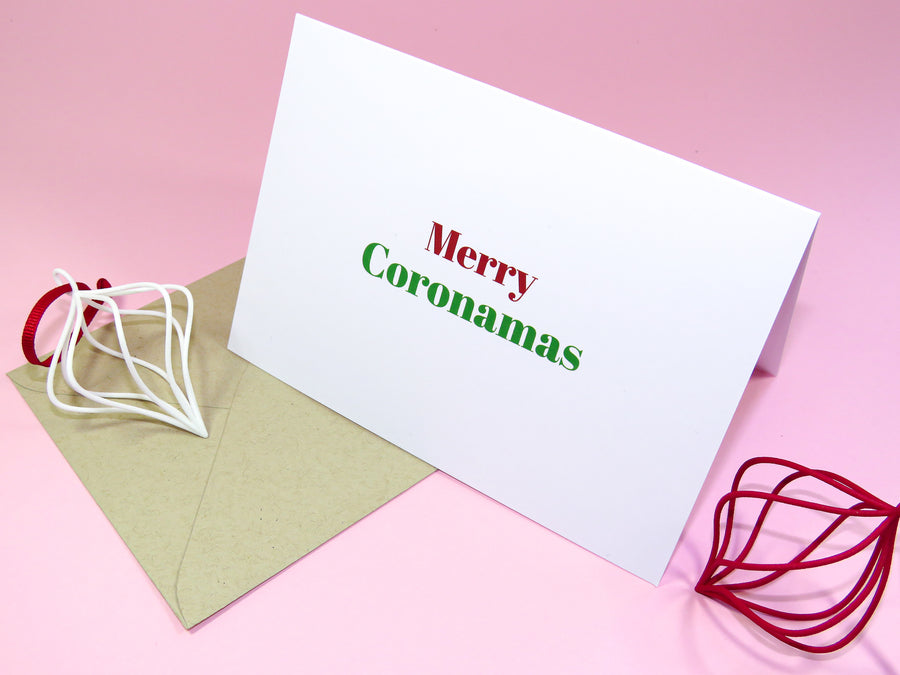 Christmas 2020 Greeting Card in Bright Green and Red Font reading