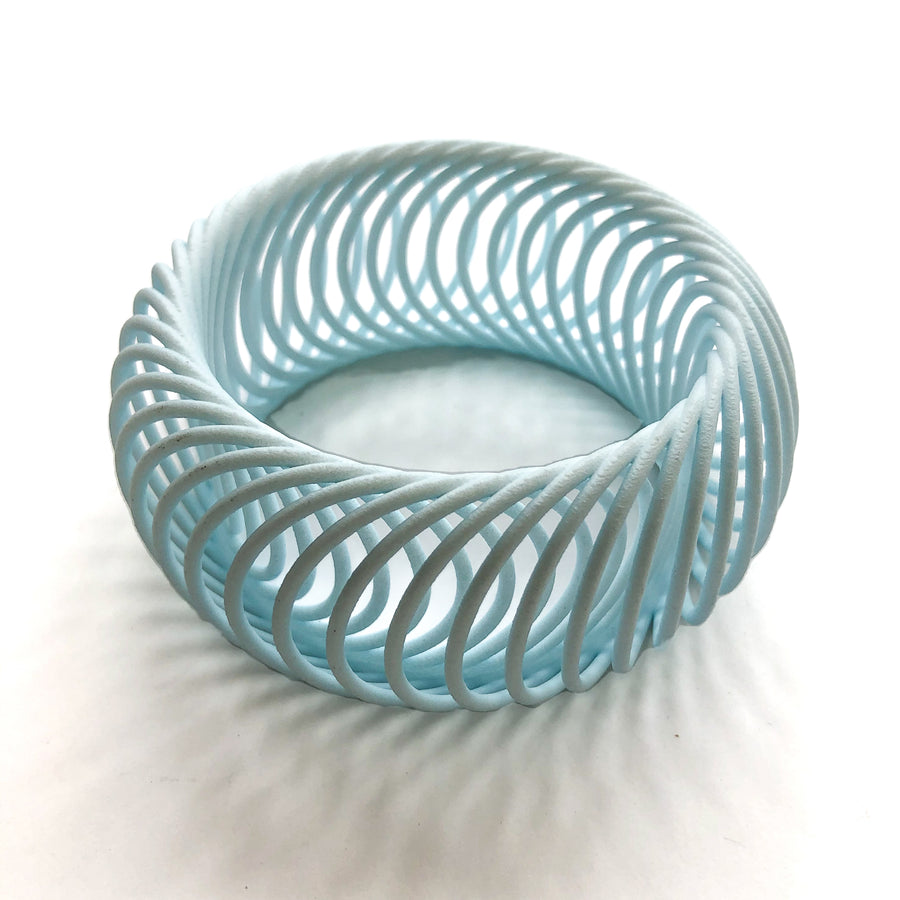 Milli 3D Printed Bangle in Aquamarine - Inspired by circular motion