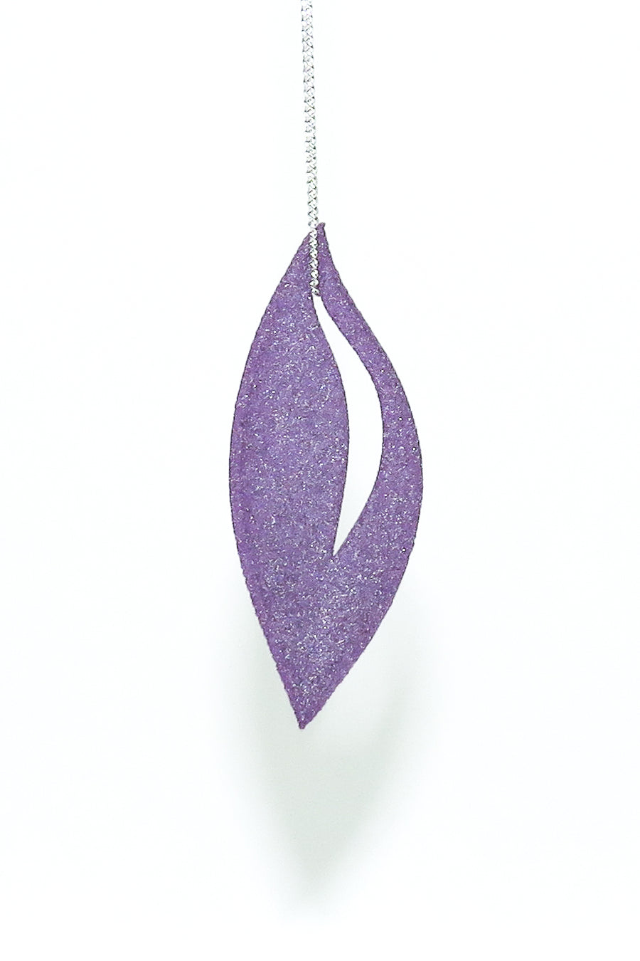 On a Sterling Silver Chain our Olive Pendant 3D Printed in Amethyst Purple