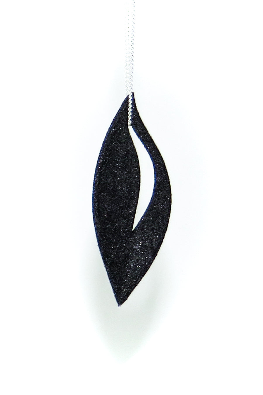Olive Pendant 3D Printed in Carbon Black on a Sterling Silver Chain