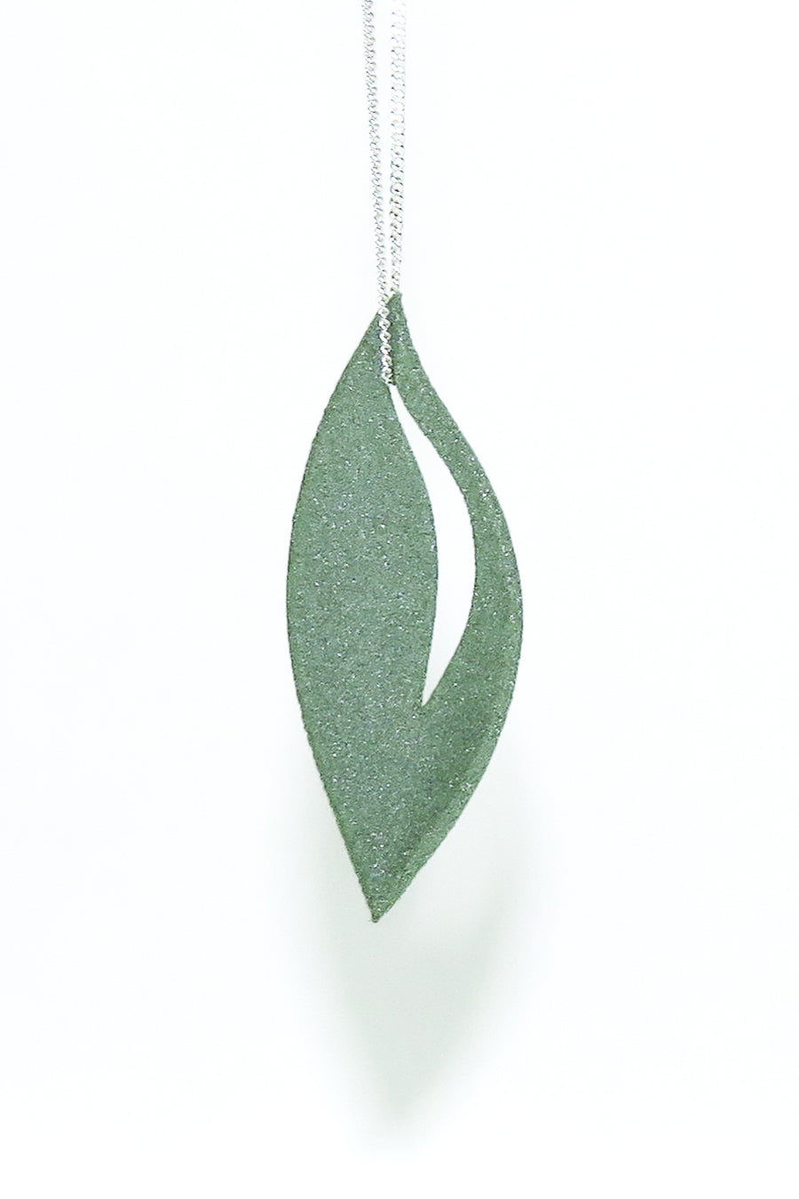 Emerald Green Olive Pendant 3D Printed in Alumide on a sterling silver chain