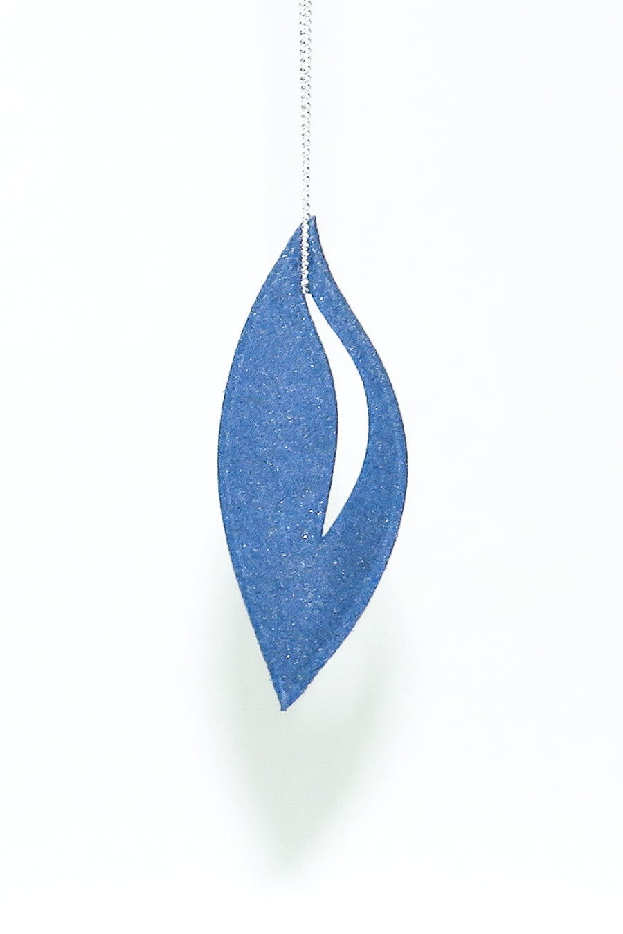 3D Printed Sapphire Blue Olive Pendant on a Sterling Silver Chain