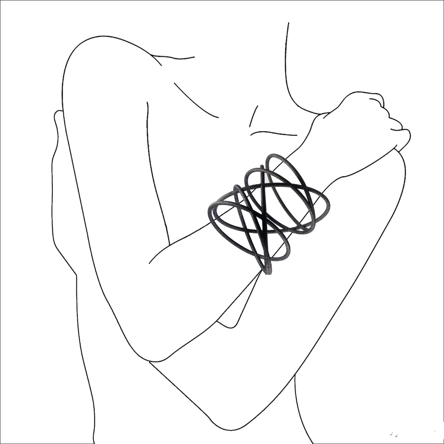 illustrated sketch of a woman with her arms wrapped around in a embrace wearing the Orbit Bangle