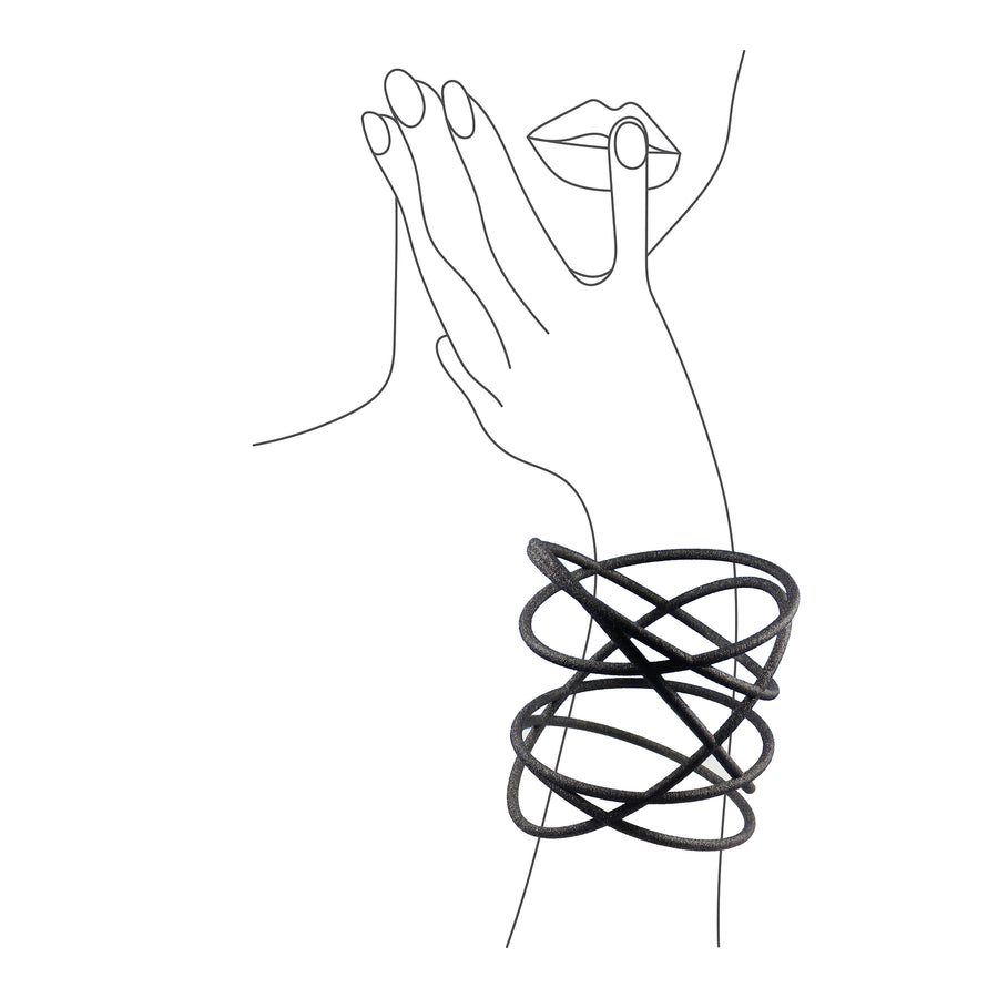 Orbit Bangle on illustrated sketch of a woman's arm holding her head