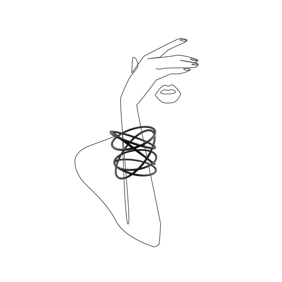 Orbit Bangle on illustrated sketch of a woman's arm