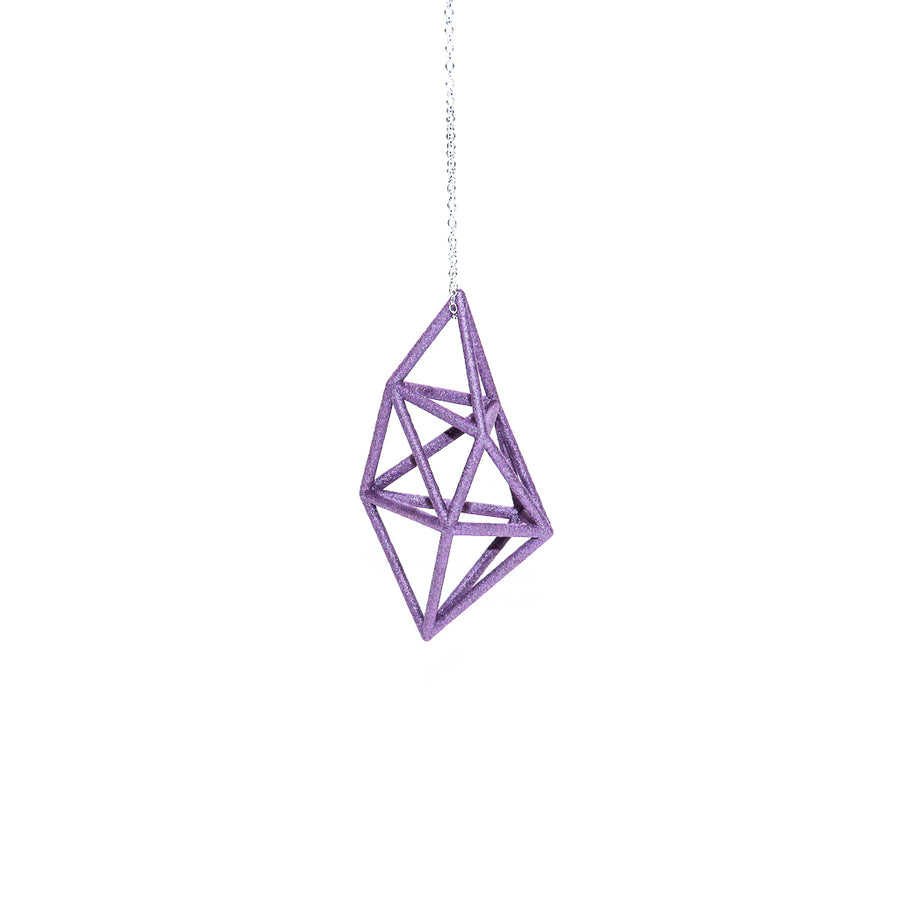 Geometric Prism Pendant 3D Printed in Amethyst Purple on a sterling silver chain