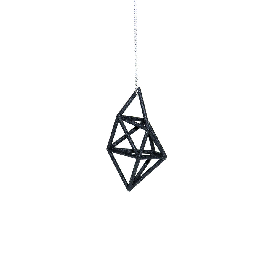 Carbon Black 3D Printed Prism Pendant on a Sterling Silver Chain