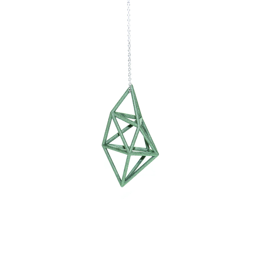 3D Printed Pendant in Emerald Green on a sterling Silver Chain