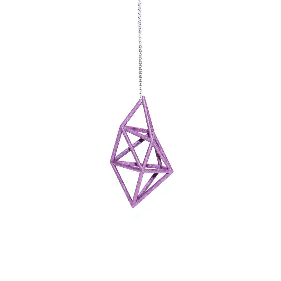 Petal Pink Prism Pendant on Sterling Silver Chain