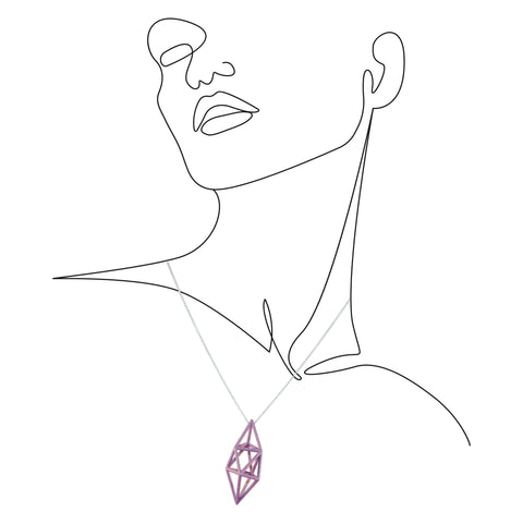 Prism Pendant in Amethyst Purple on an outline illustration of a woman