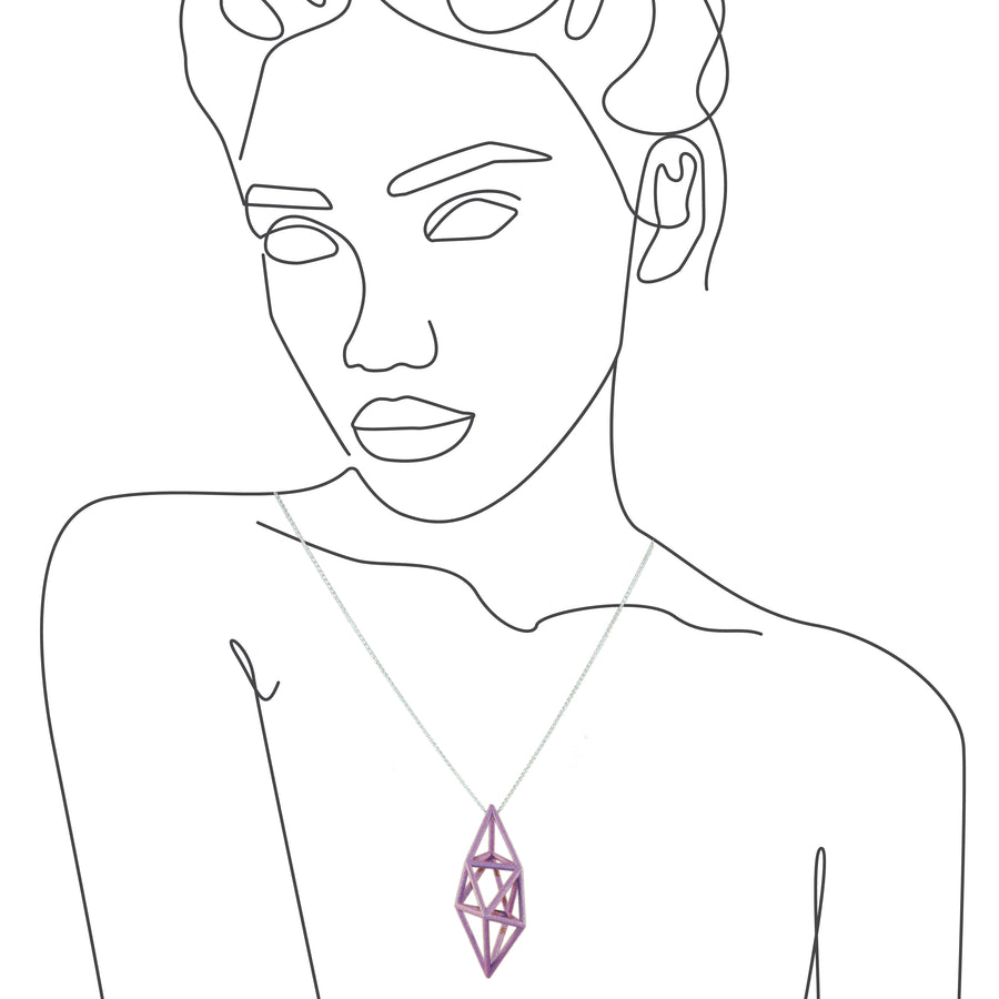 The Amethyst Prism Pendant imposed on an illustration of a woman