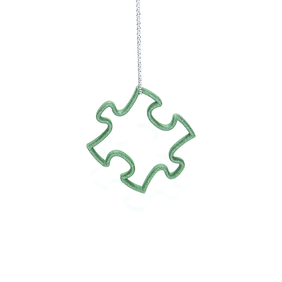 Emerald Green 3D Printed Puzzle Pendant
