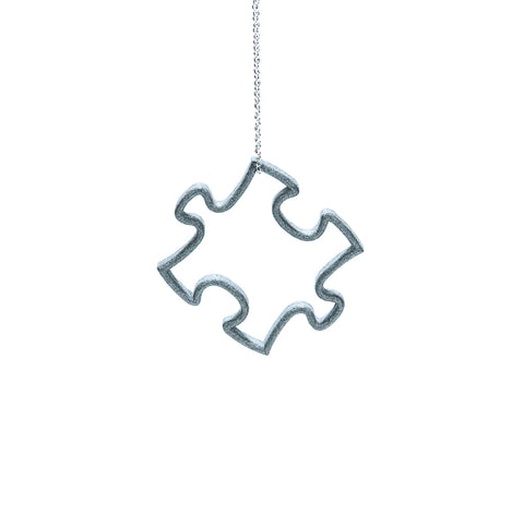 Slate Grey 3D Printed Puzzle Pendant