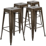 "30"" High Metal Indoor Bar Stool, Stackable Set of 4"