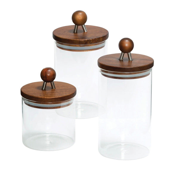 3-Piece Acacia-Top Glass Kitchen Canister Set