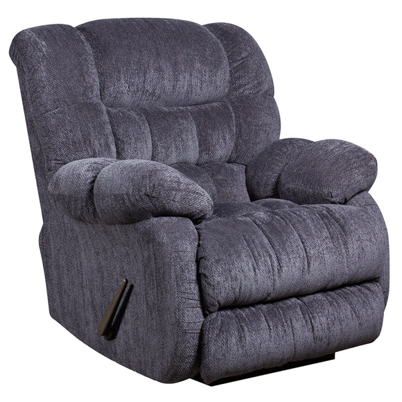 Contemporary Columbia Indigo Blue Microfiber Rocker Recliner with Thick Tufted Back