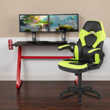 Red Gaming Desk and Racing Chair Set with Cup Holder and Headphone Hook