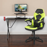 Black Gaming Desk and Racing Chair Set with Cup Holder, Headphone Hook, and Monitor/Smartphone Stand