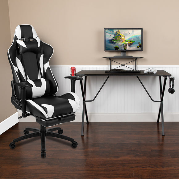 Black Gaming Desk and Footrest Reclining Gaming Chair Set with Cup Holder, Headphone Hook, and Monitor/Smartphone Stand