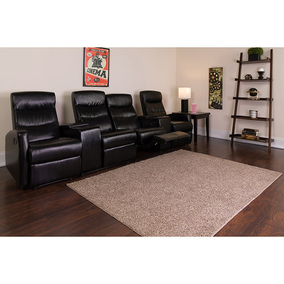 Anetos Series 4-Seat Reclining Black LeatherSoft Theater Seating Unit with Cup Holders